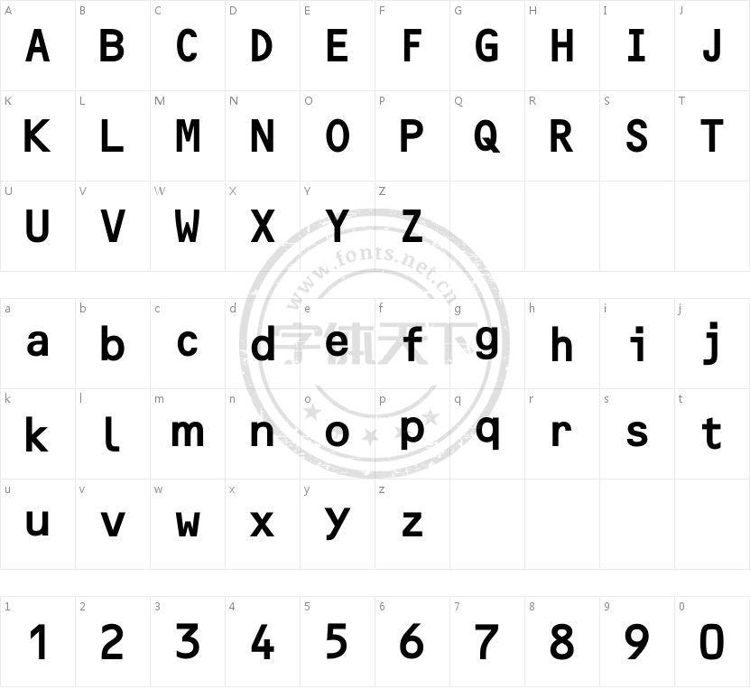 F2FOCRBczyk LT W00 Bold的字符映射图