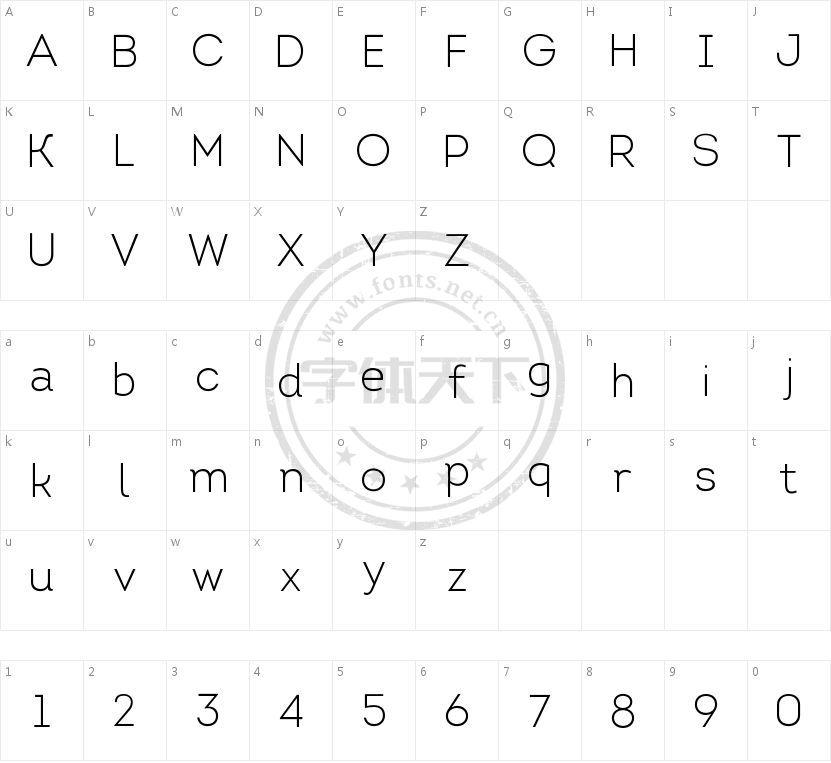 Intro Light的字符映射图