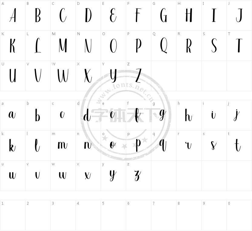 Valsday Script DEMO的字符映射图