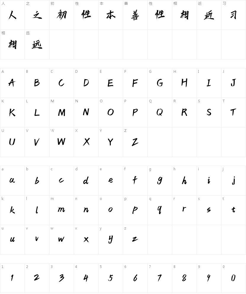 汉仪天宇风行体W的字符映射图