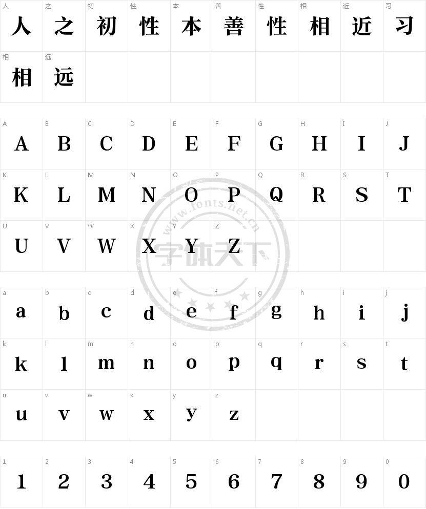 腾祥铭宋简-W8 Heavy的字符映射图
