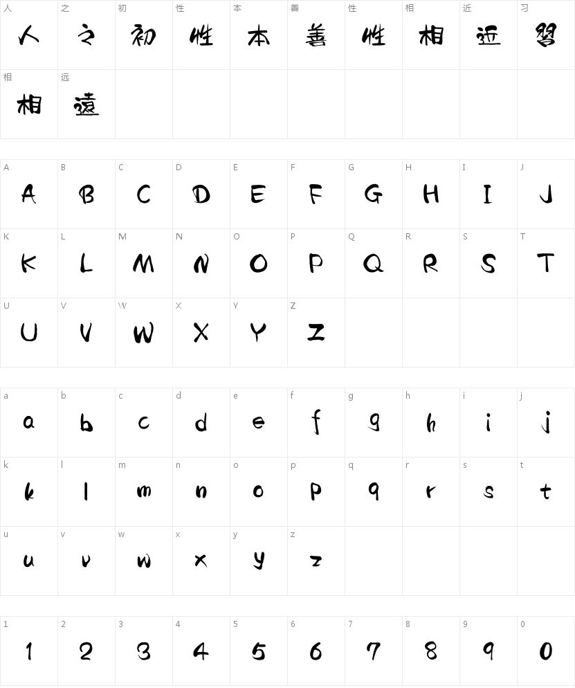 汉仪二码墨书 繁的字符映射图