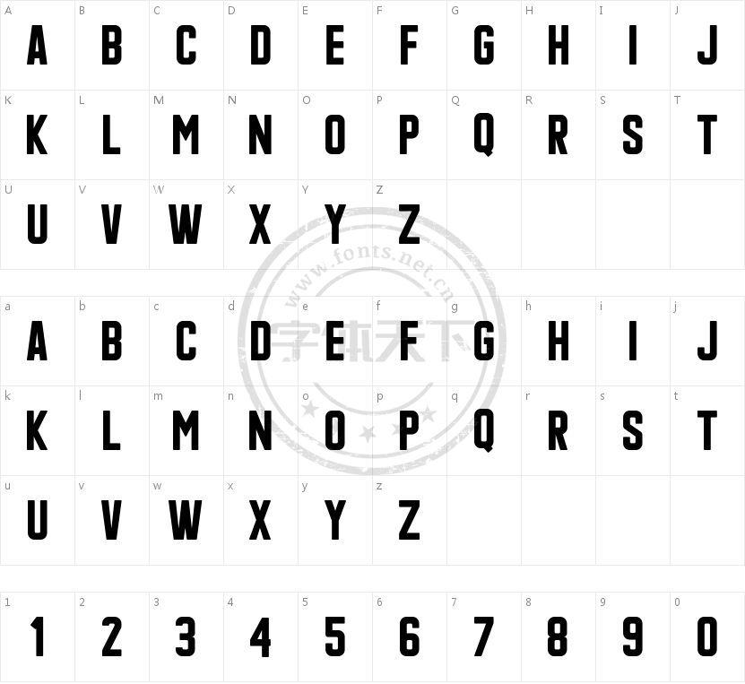Qonquer sans的字符映射图