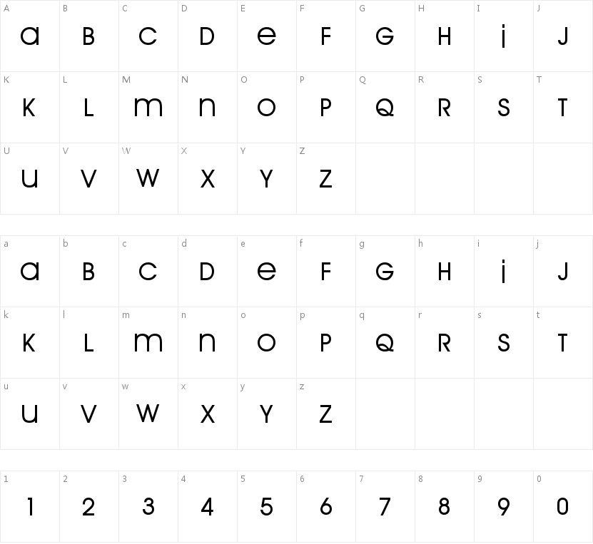 Arrière Garde Regular的字符映射图
