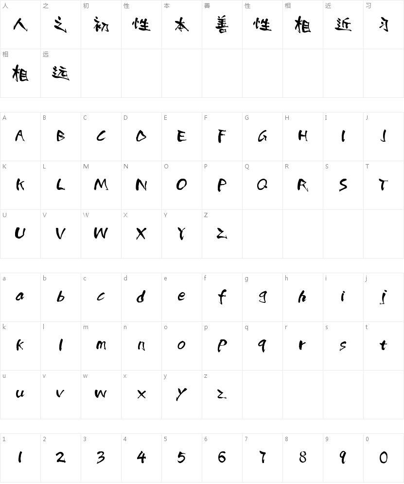潮字社杨肖清书繁的字符映射图
