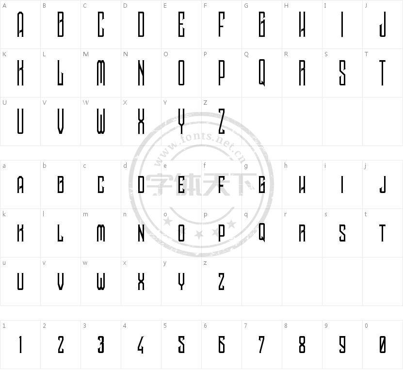 Noggovoso Personal Use的字符映射图