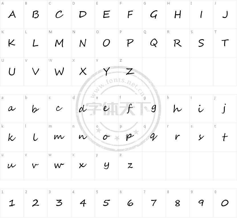 Segoe Script的字符映射图