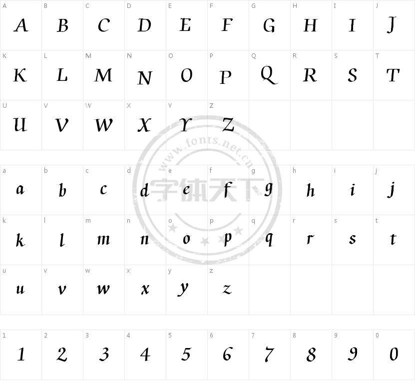 Ink Chancery的字符映射图