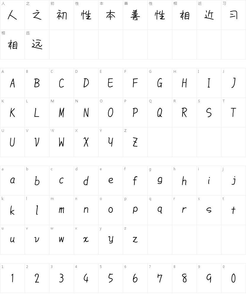 851手書き雑フォント的字符映射图
