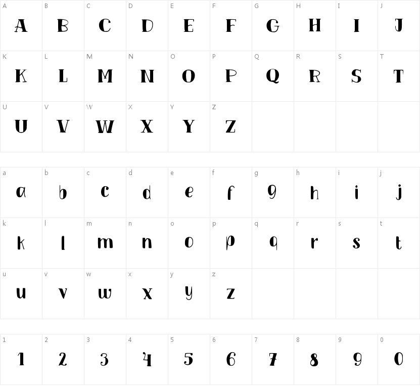 TM Vinograd Filled的字符映射图