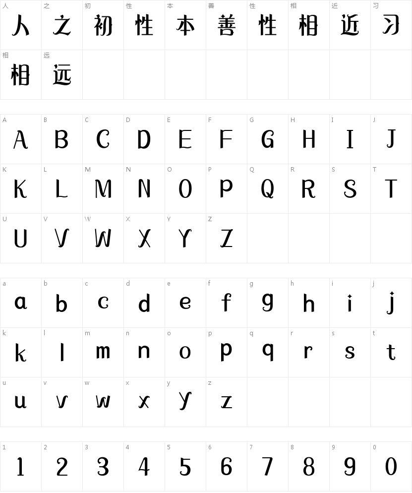 字心坊梦幻哥特体的字符映射图