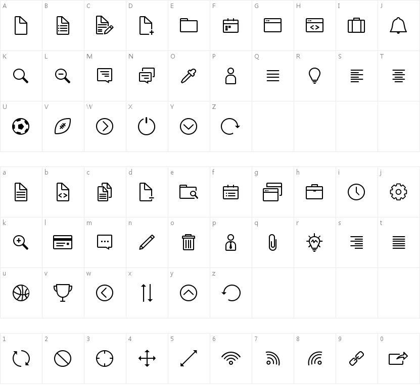 Icon-Works的字符映射图