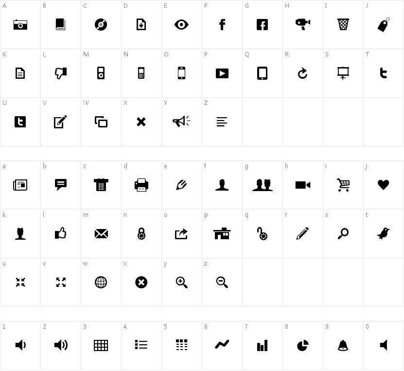 Modern Pictograms的字符映射图