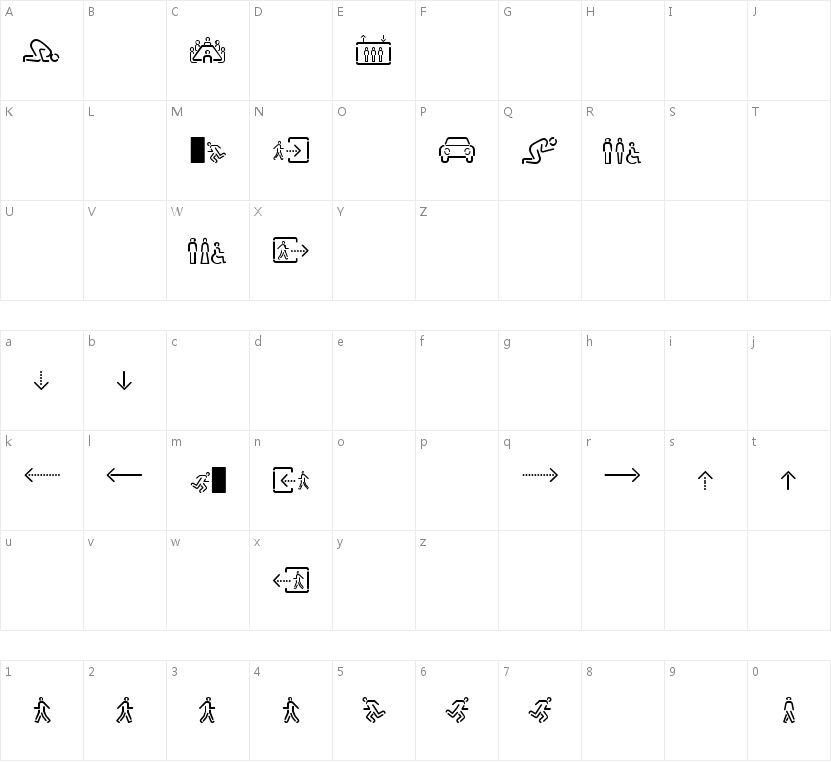 SirucaPictograms的字符映射图