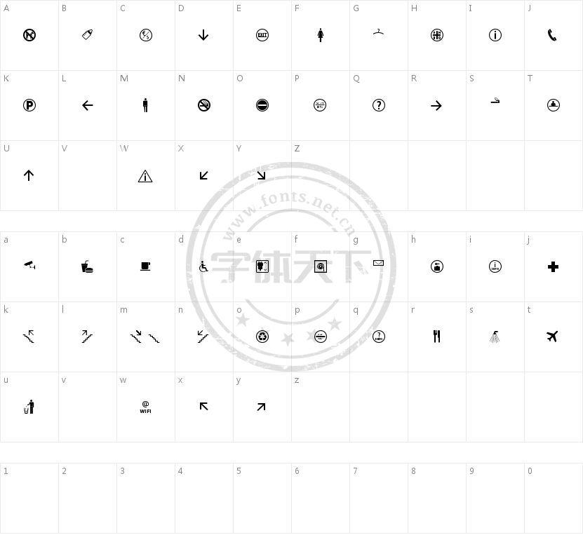 Symbol Signs的字符映射图