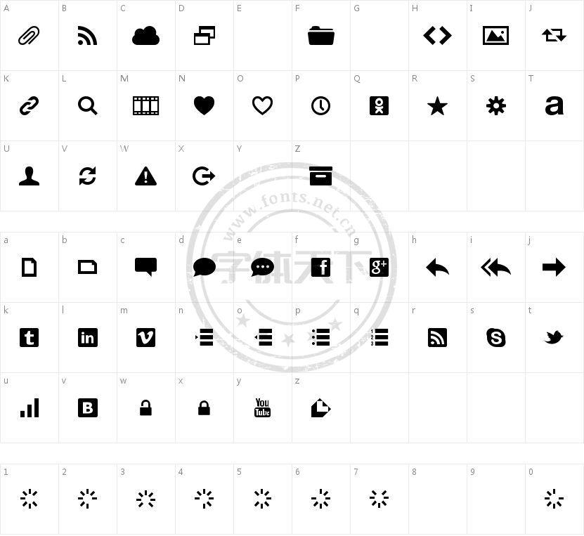 Web Symbols的字符映射图