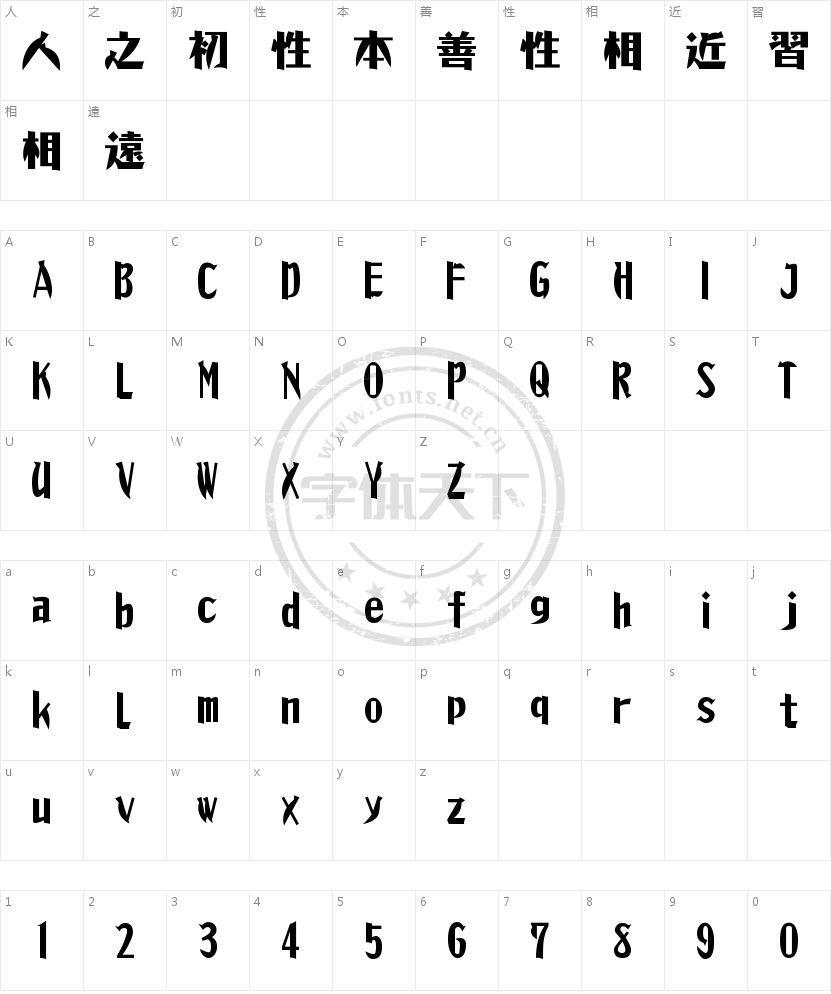 昭和モダン体的字符映射图