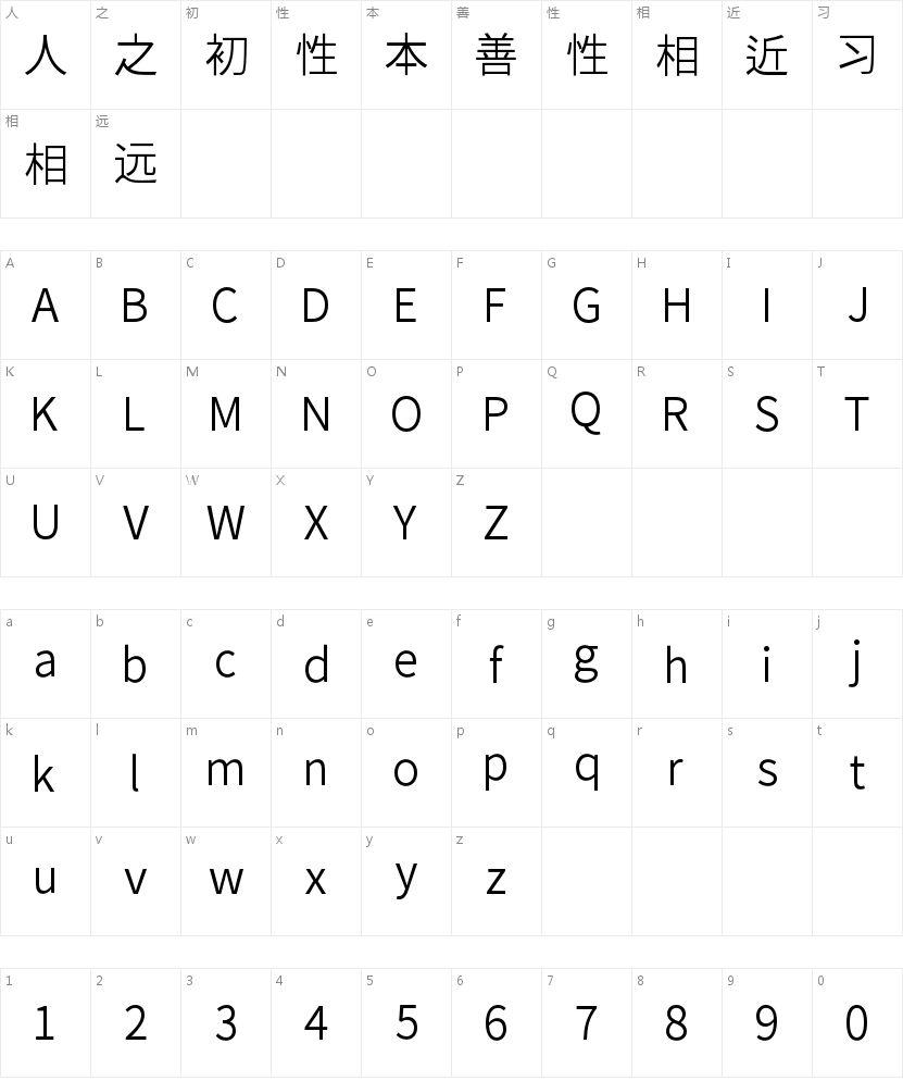思源黑体旧字形 Normal的字符映射图
