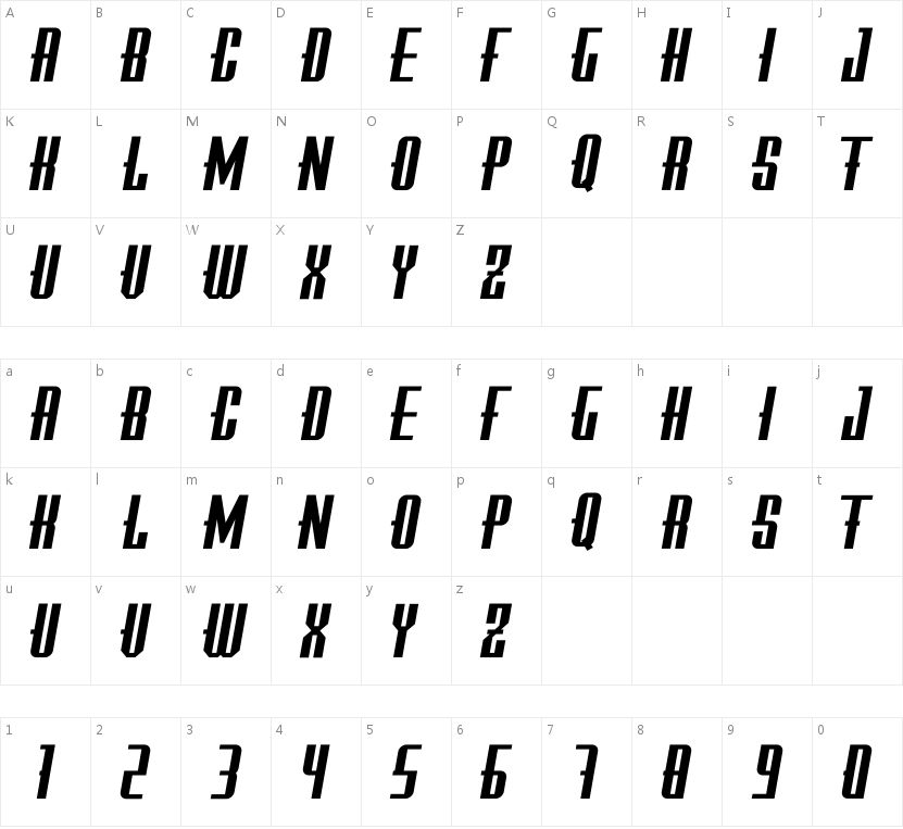 Tropper Sans Serif-Italic的字符映射图