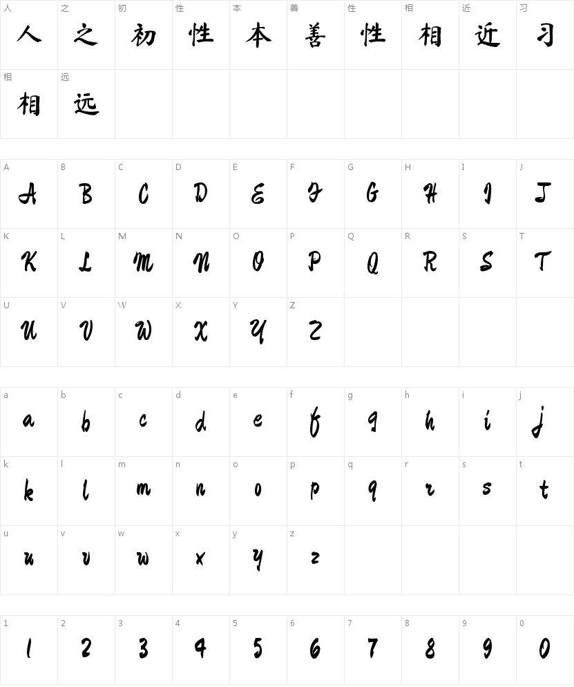 钟齐马善政毛笔楷书的字符映射图