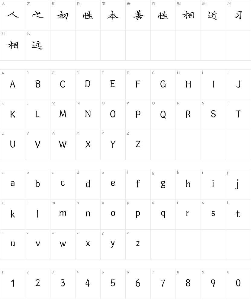 汉仪字酷堂长林体W的字符映射图