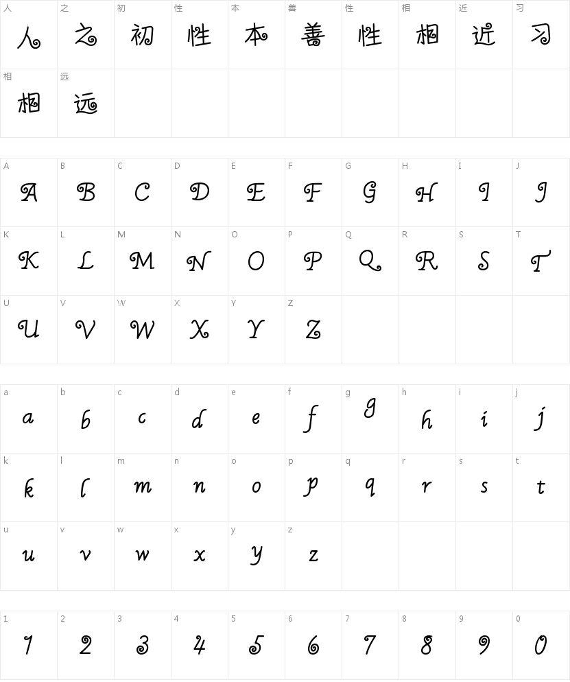 汉字之美棒棒糖的字符映射图