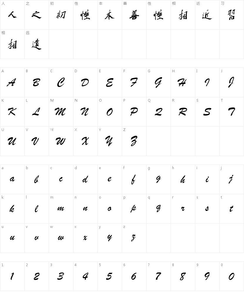 钟齐蔡云汉毛笔行书的字符映射图