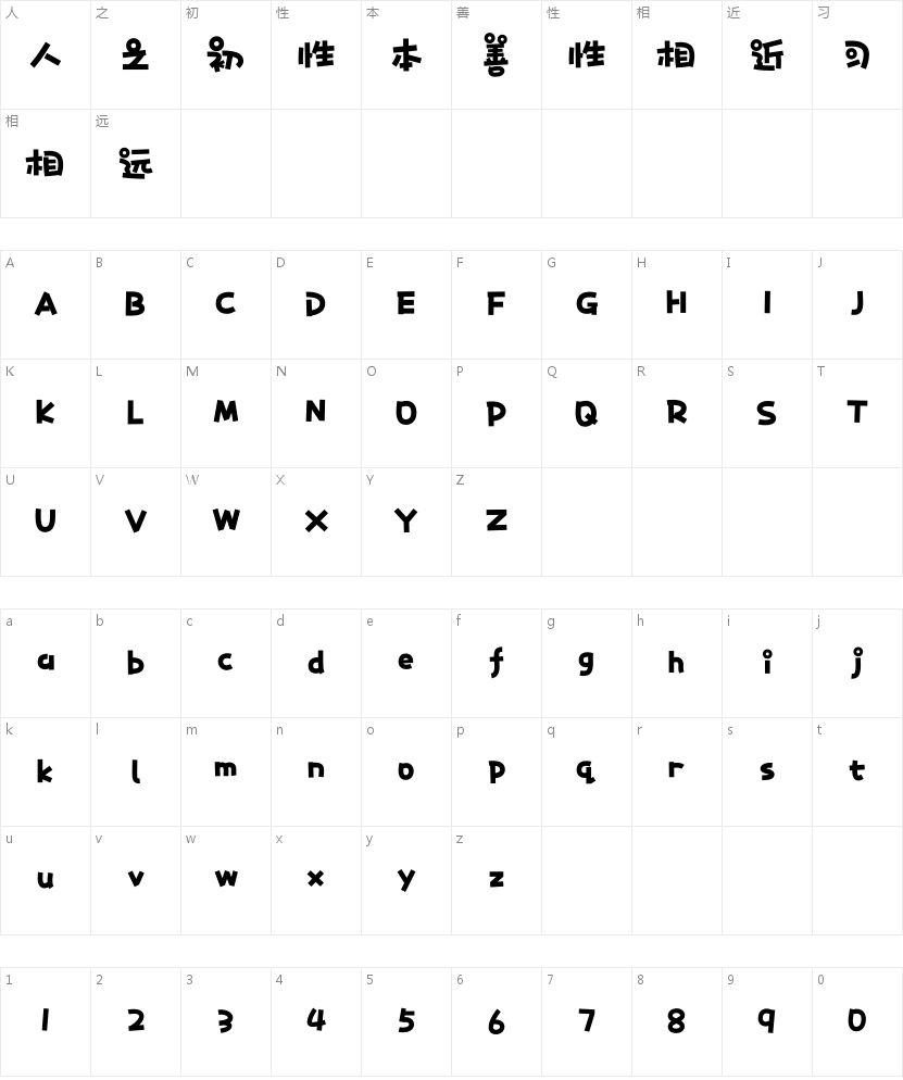 二字元滚滚熊猫简 特粗的字符映射图