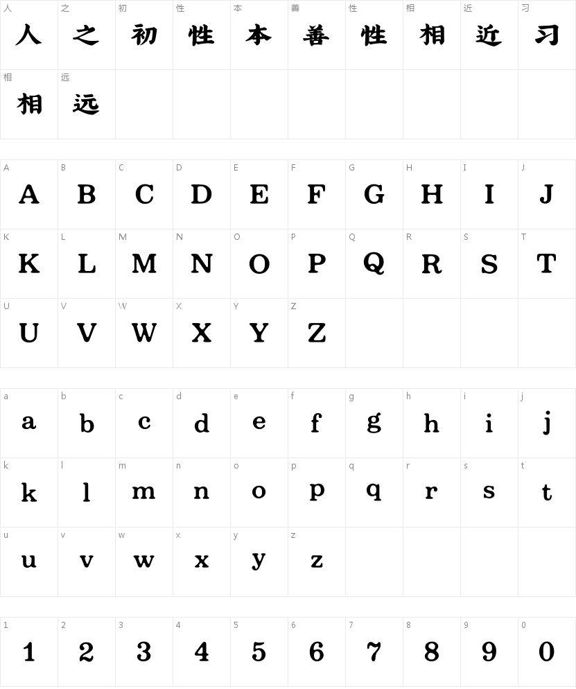 吉页大字体简的字符映射图