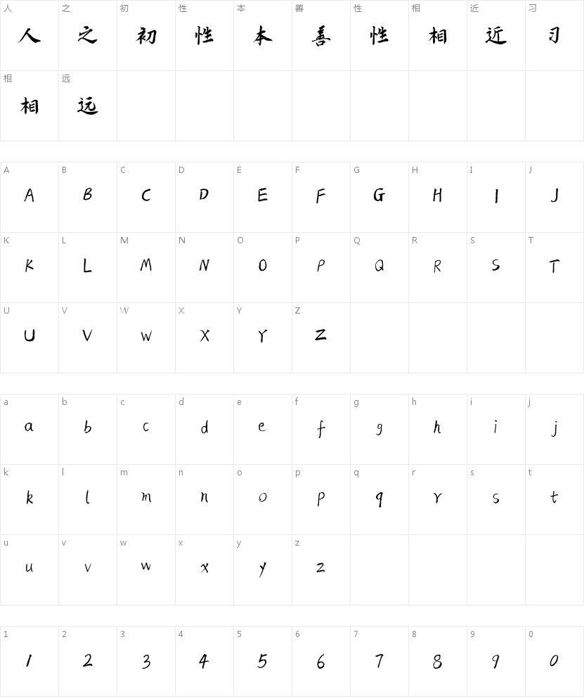 新叶汇体的字符映射图