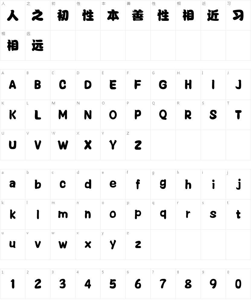 三极丰腴简体的字符映射图