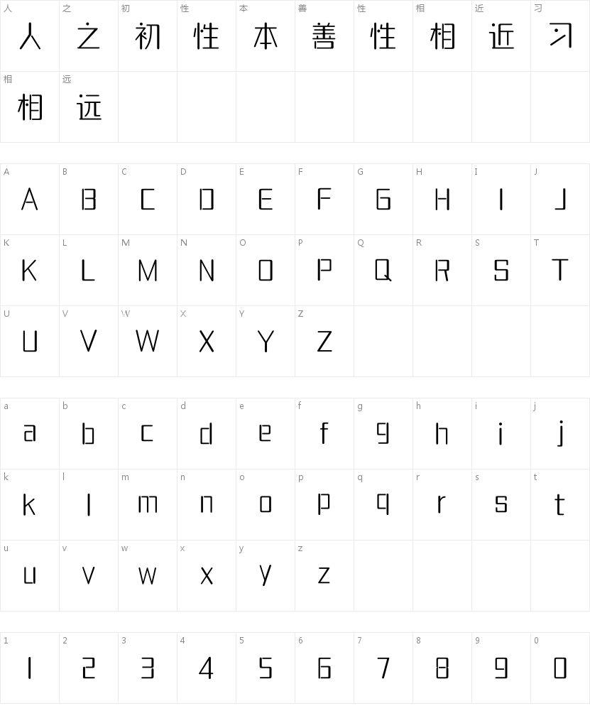 腾祥妙思体简-W1的字符映射图