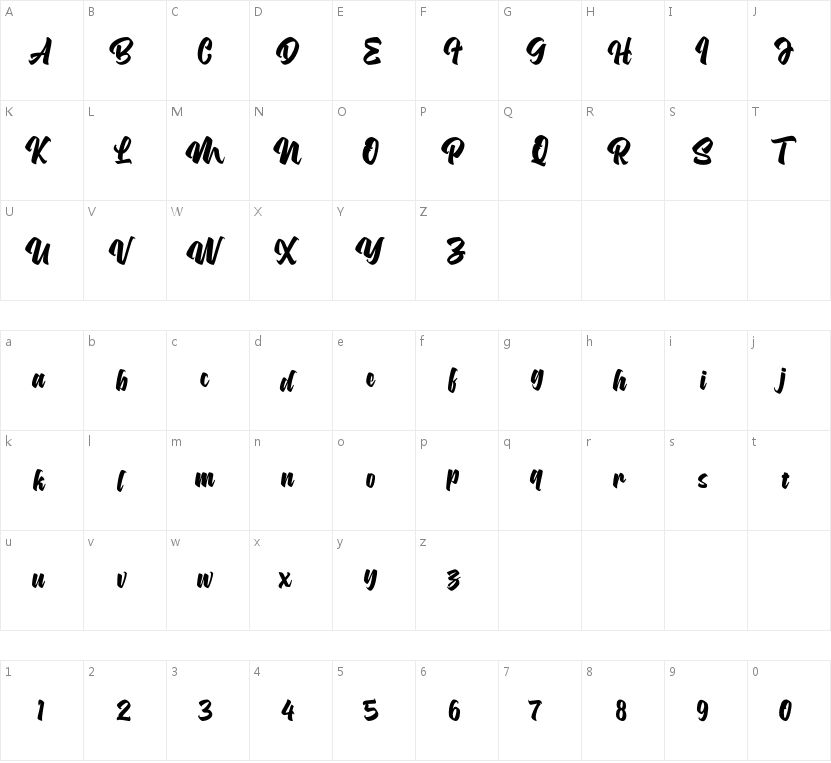 Asterik的字符映射图