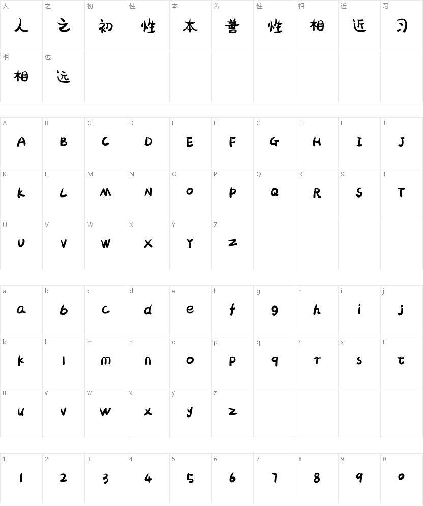 胡晓波骚包体的字符映射图