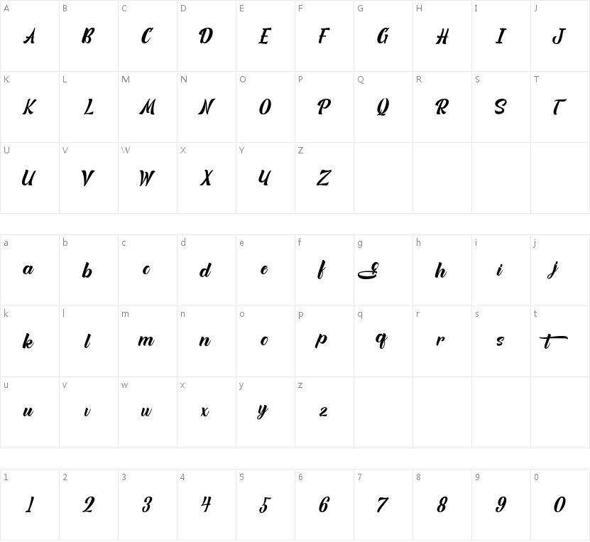 Quitgan的字符映射图