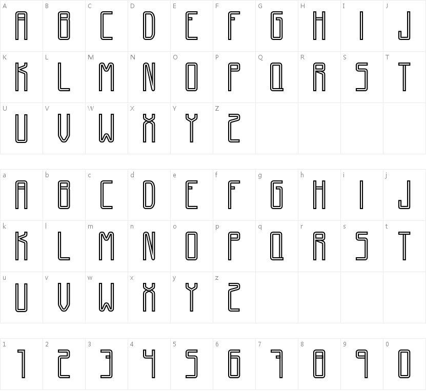 GiantFont的字符映射图