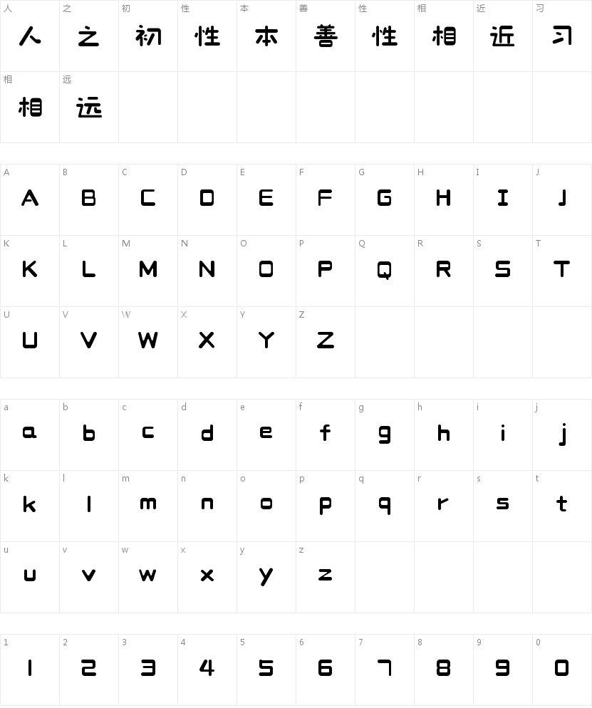 造字工房甜栗体的字符映射图