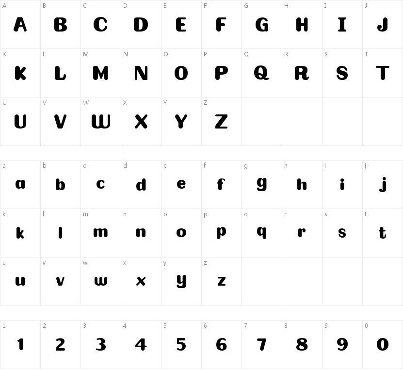BOLDER的字符映射图