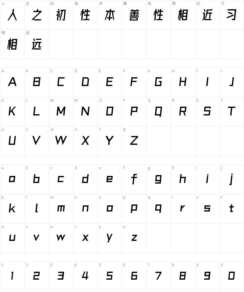 字体圈欣意冠黑体的字符映射图