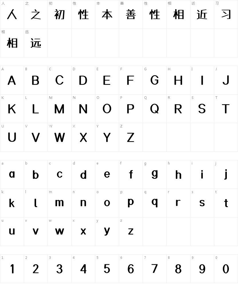 杨任东正棒体的字符映射图