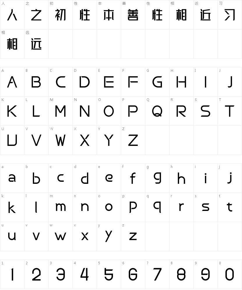 峰广明锐体的字符映射图