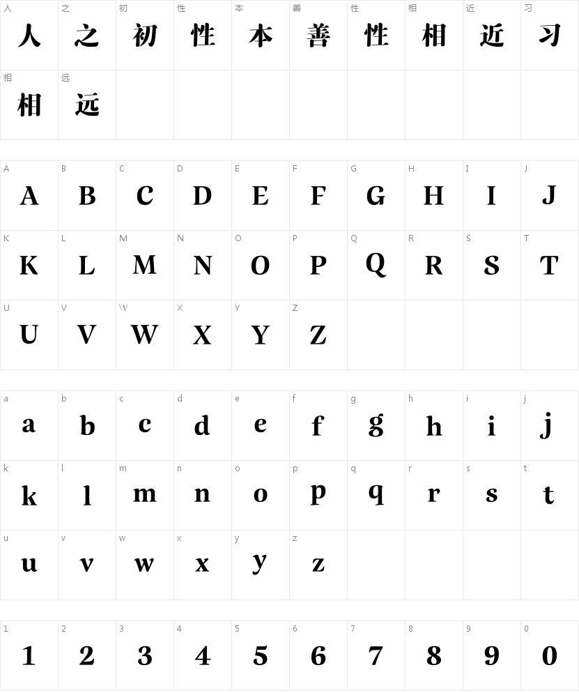 汉仪瑞云妃宋的字符映射图