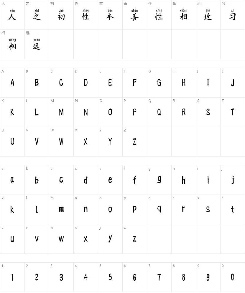 汉标榜样毛笔拼音的字符映射图