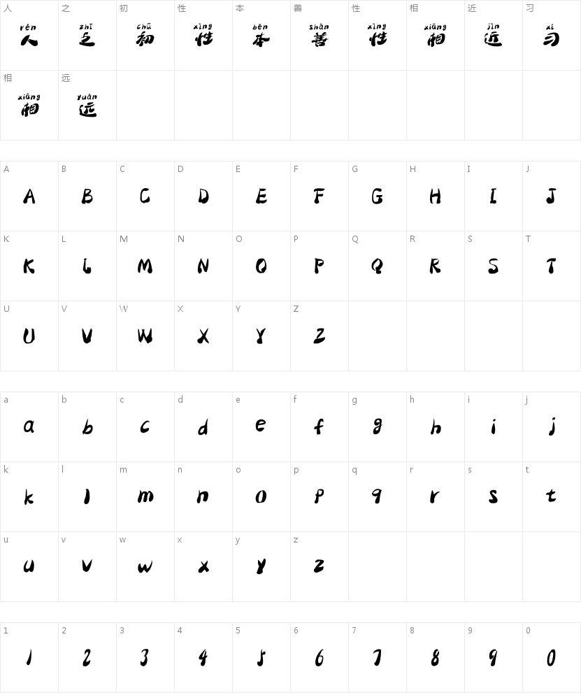 汉标大梁简体拼音的字符映射图