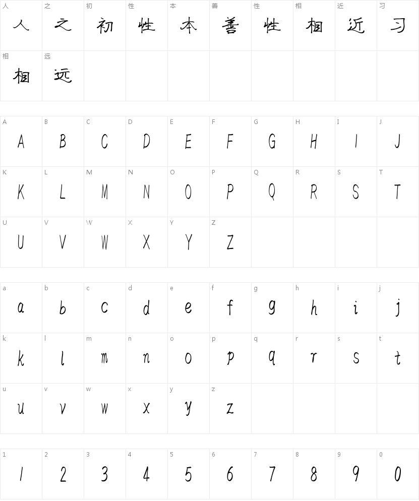 汉标独孤隶书的字符映射图