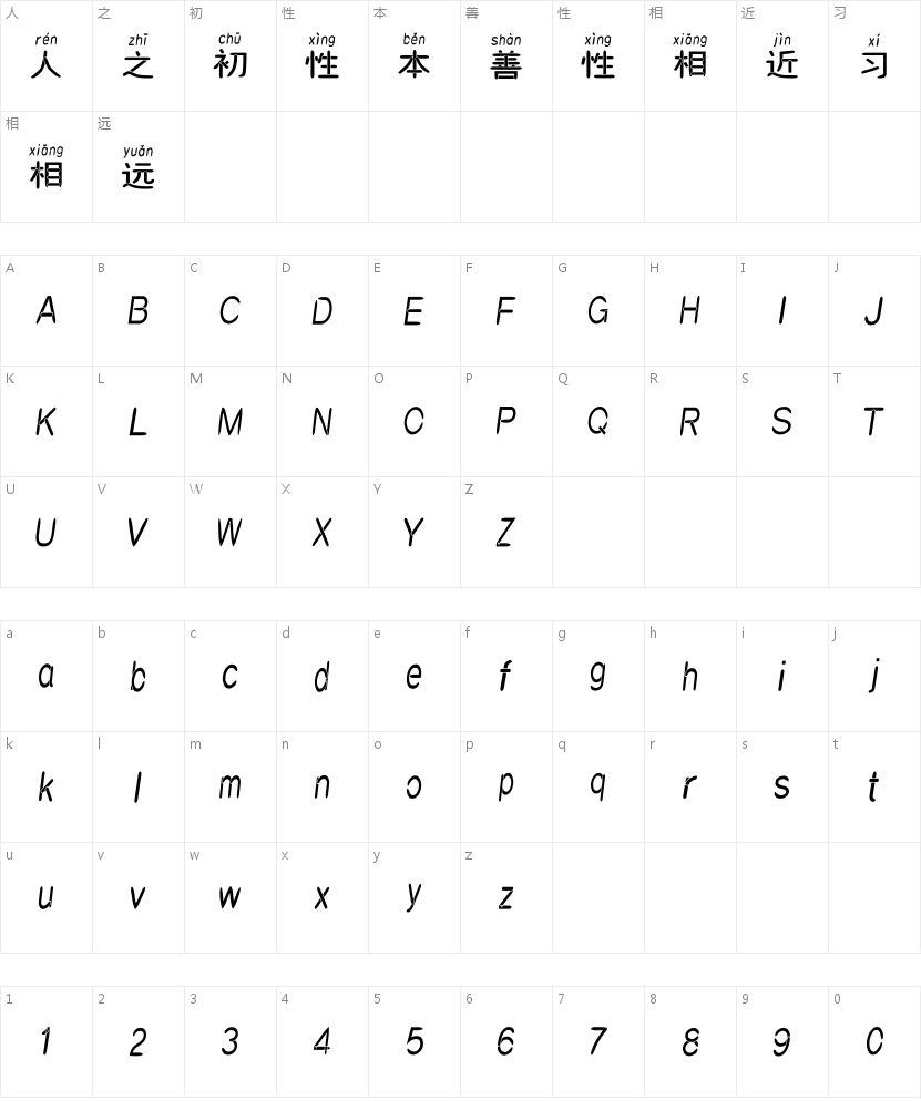 汉标赵圆拼音的字符映射图