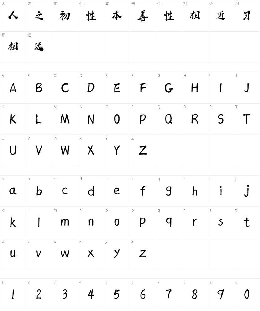 汉标赵苑蜡笔简体的字符映射图