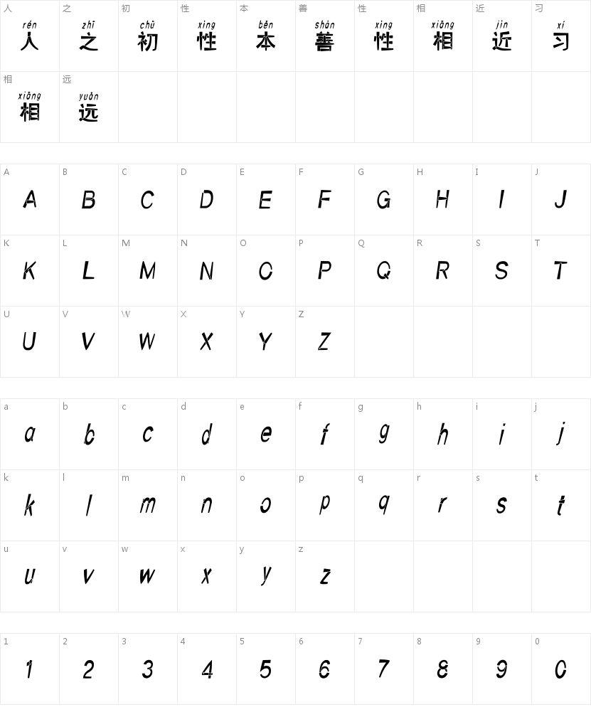 汉标赵黑拼音的字符映射图