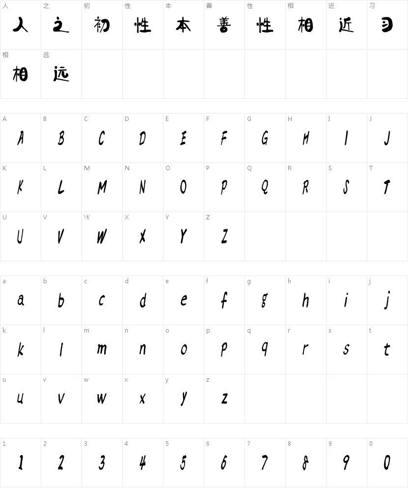 汉标燕赵体的字符映射图