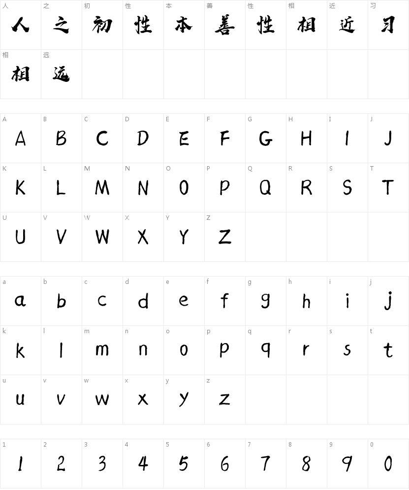 汉标西红市首字体的字符映射图